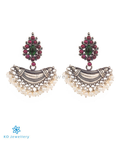 Contemporarily designed temple jewellery earrings with gemstones
