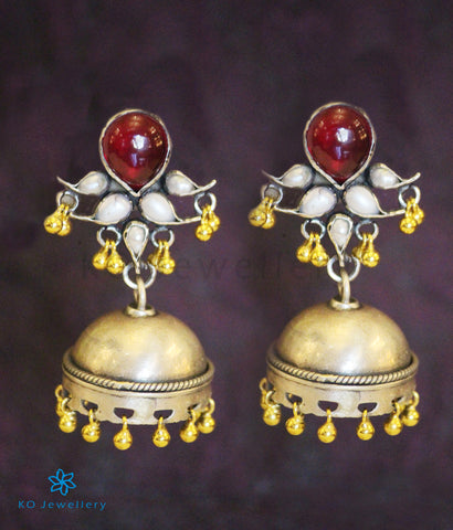 The Prayag Silver Antique Jhumka (Two-Tone)
