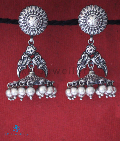 The Chandrakin Silver Peacock Jhumka