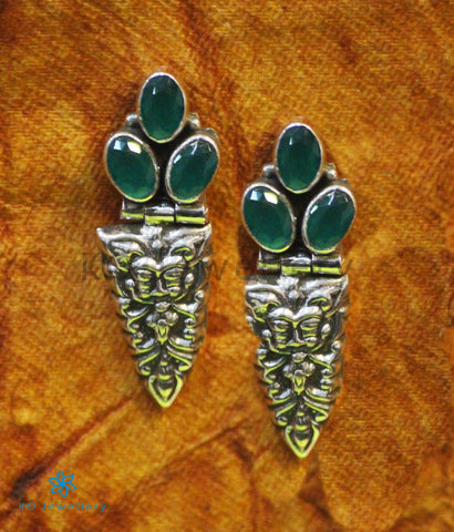 The Bhiti Silver Gemstone Earrings (Green)