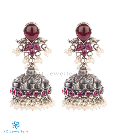 Lotus inspired antique silver temple jewellery jhumkas