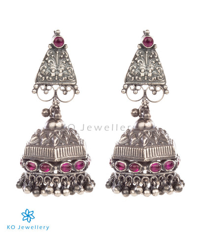Lovingly handcrafted oxidised silver temple jewellery jhumkas
