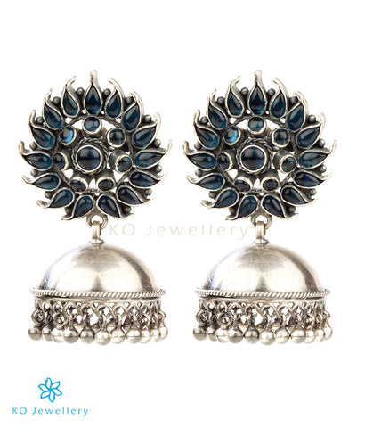 The Kaira Silver Floral Jhumka(Blue)