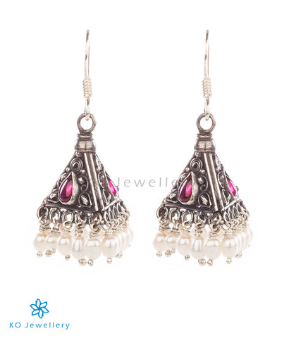 The Trivrt Silver Jhumka(Oxidised)