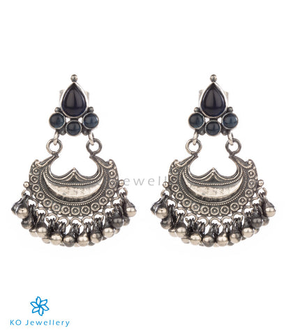 Blue kempu and oxidised silver temple jewellery earrings