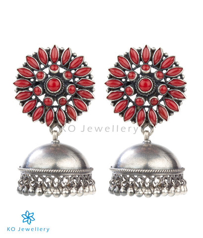The Kavika Silver Jhumka(Red)