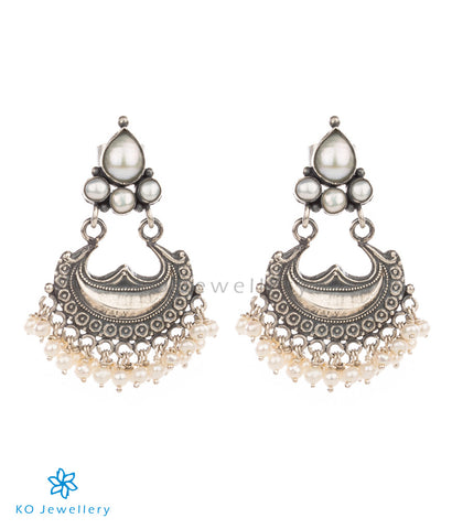 pearl and silver temple jewellery earrings ethnic wear