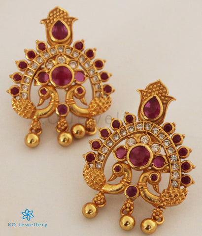 The Shubhi Silver Peacock Earrings (Red)