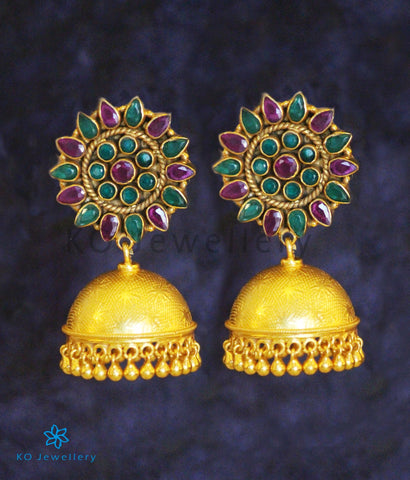 The Karanphool Silver Gemstone Jhumka (Red/Green)
