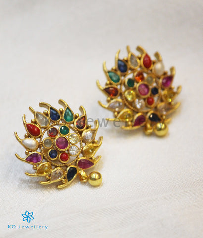 The Kaira Silver Earrings(Navratna)