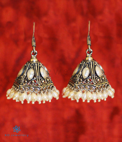 The Maya Silver Pearl Jhumka (Oxidised/Hook)