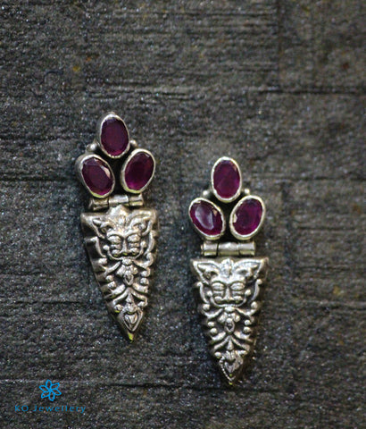 The Bhiti Silver Gemstone Earrings (Red)