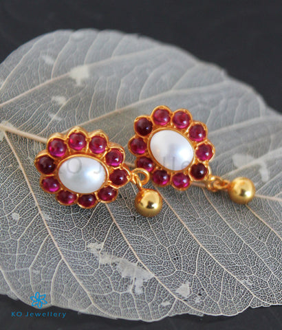 The Vamshika Silver Earrings (Red/Pearl)