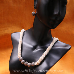 Buy online hand crafted silver necklace set for women