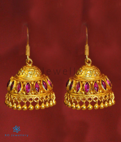 The Mithil Silver Kempu Jhumka (Red)
