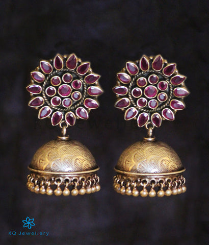 The Karanphool Silver Jhumka(Red/Oxidised)