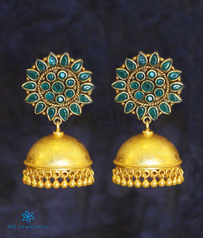 The Karanphool Silver Gemstone Jhumka (Green)