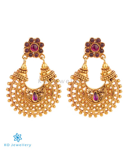 Chand baali style gold-dipped temple jewellery earrings