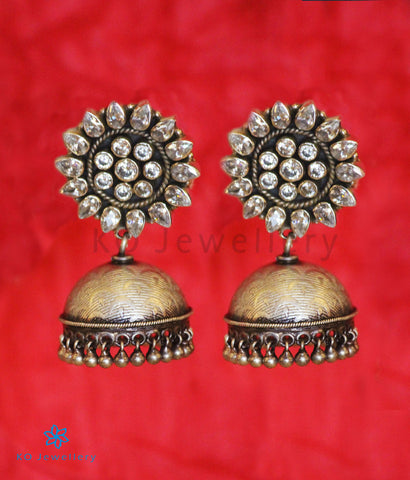 The Karanphool Silver Jhumka(White/Oxidised)