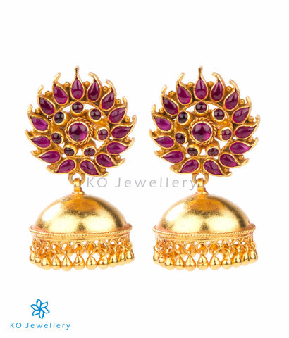 Attractive gold-dipped jhumkas authentic temple jewellery design
