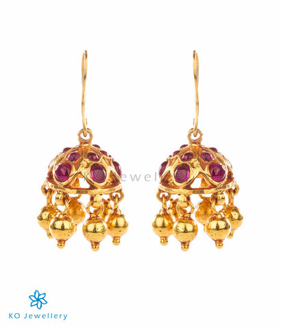 Very small and delicate gold plated temple jewellery jhumkas