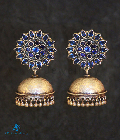The Karanphool Silver Jhumka(Blue/Oxidised)