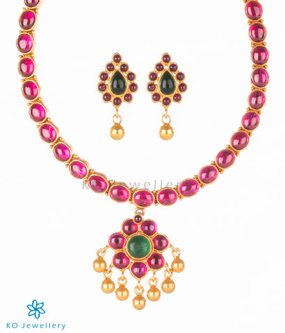 South Indian temple jewellery kempu stone necklace