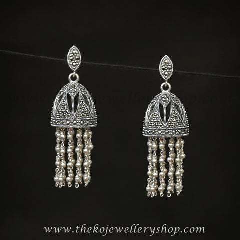 Online shopping pure silver jhumka for women