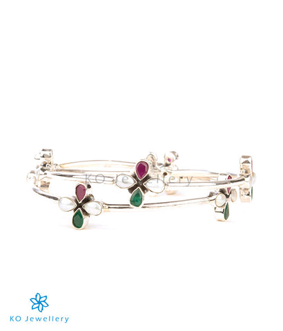 The Anaita Silver Gemstone Bangle(Red/Green)