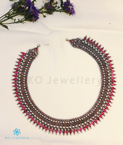 The Kamala Silver Kempu Necklace (Oxidised)