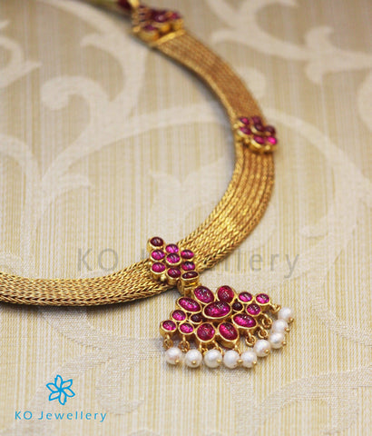 Gold coated pure silver choker with kempu stones
