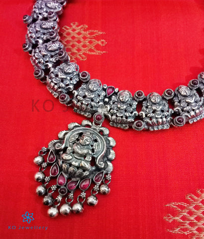The Padmakshi Antique Silver Lakshmi Necklace (Oxidised)
