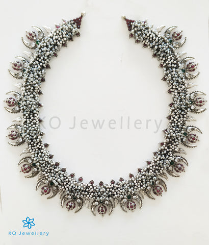 The Bodhi Silver Pearl Necklace (Oxidised)