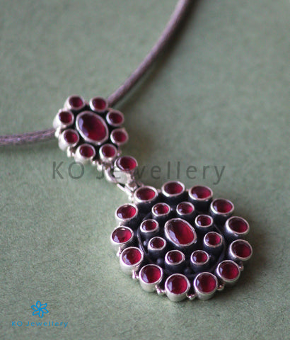 The Sarvam Silver Gemstone Necklace (Red)
