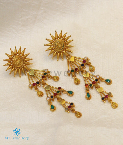 The Hamsa Silver Peacock Earrings (Navratna)