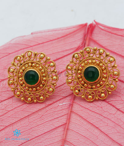 The Yuktvaa Silver Ear-studs (Green)