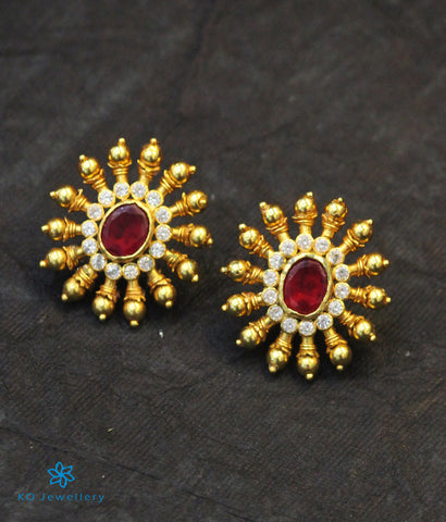 The Gajra Silver Ear-studs (Red)