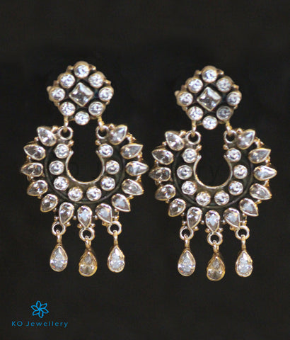 The Pranav Silver Gemstone Earrings(White)