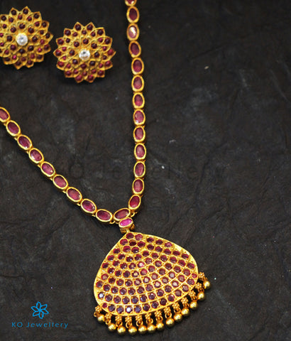The Aarav Silver Kempu Necklace