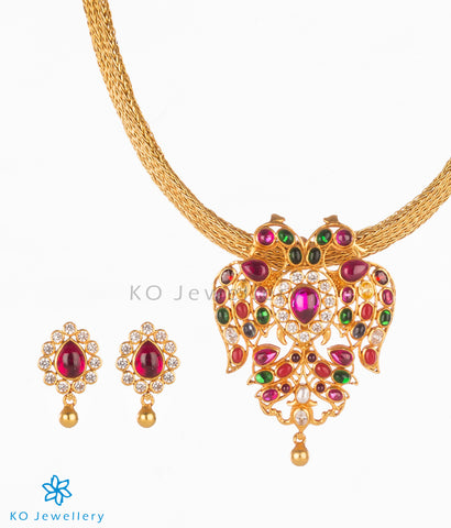 Navratna gemstone gold plated necklace set