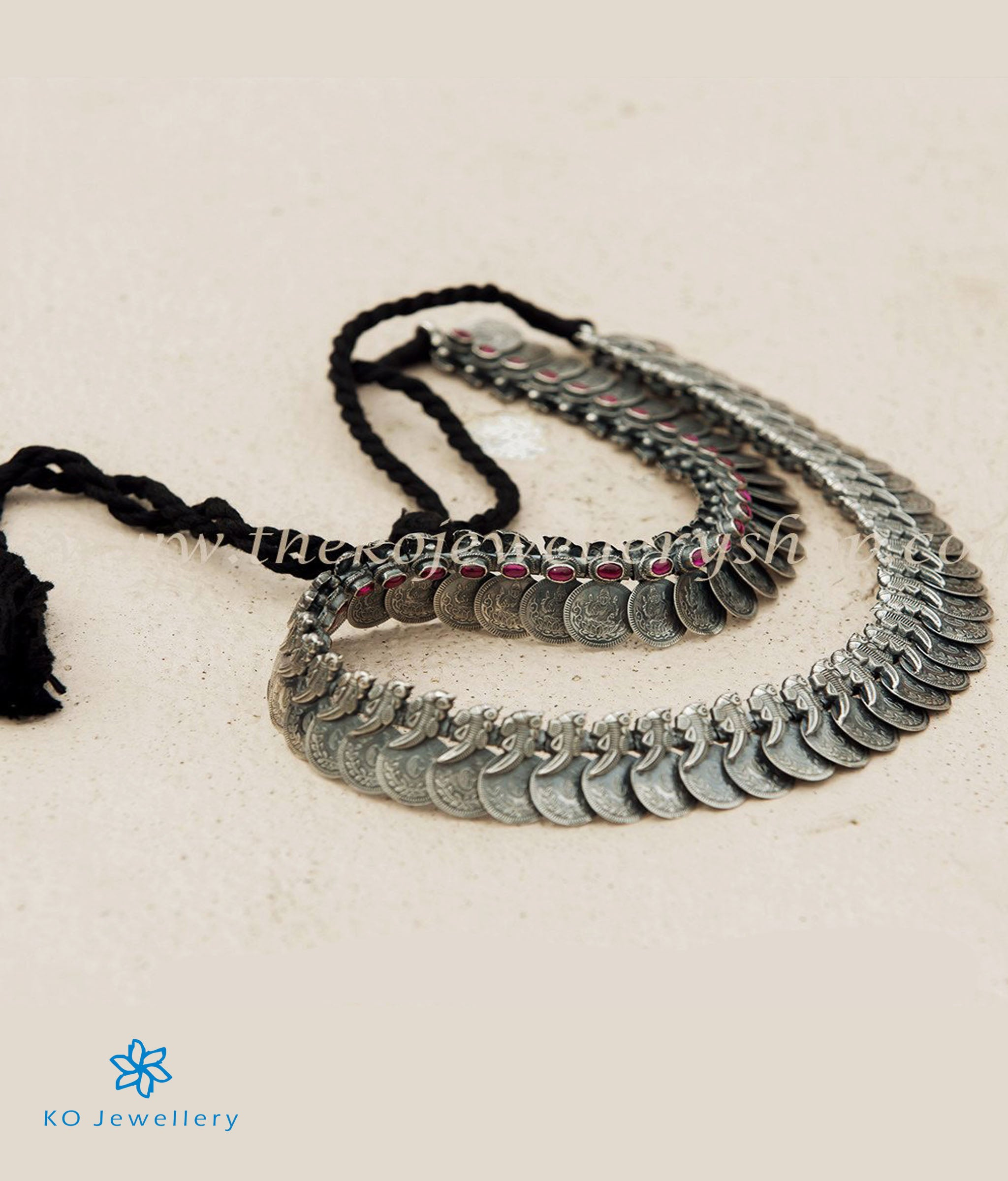 96456afa24277 The Dharaa Antique Silver Coin Necklace(Oxidised)