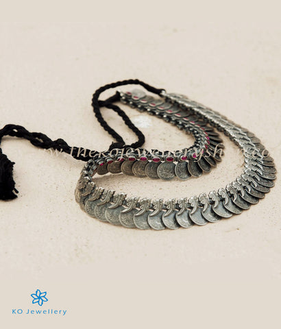 The Dharaa Antique Silver Kasumala Coin Necklace/Waistbelt(Oxidised)