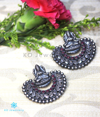 The Pragya Silver Chand Bali Earrings(Oxidised)