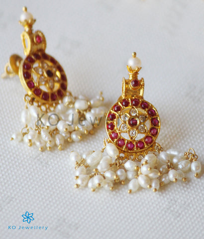 The Vratala Silver Pearl Earrings (Red)