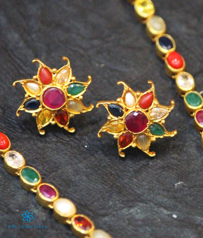 The Ekathva Silver Navratna Ear-Studs