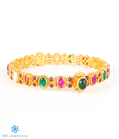 Gold plated silver navratna bangle online