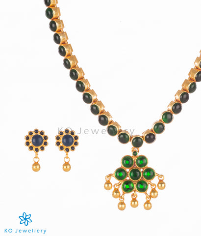 Gold plated addige silver necklace set with kempu stones