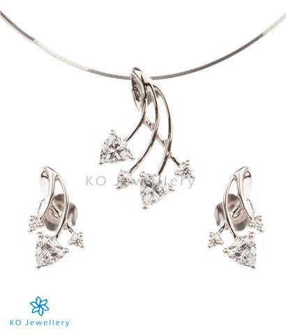 contemporary work wear jewellery set in silver and white zircon online