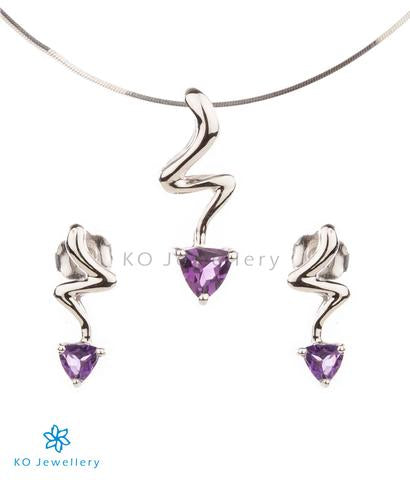 contemporary work wear jewellery set combining silver and exquisite amethyst