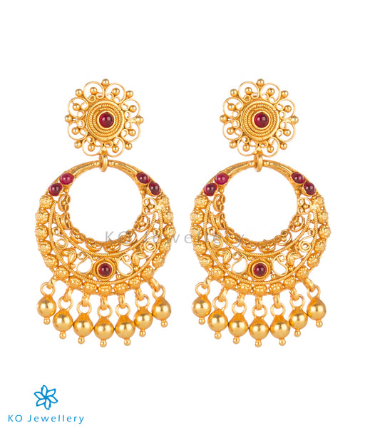 Earrings: Gold Plated Silver Temple Jewellery